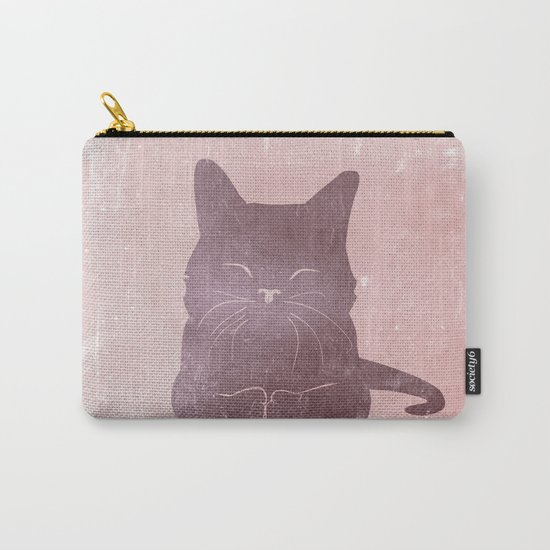 Happy purple cat illustration on pink for girls Carry-All Pouch