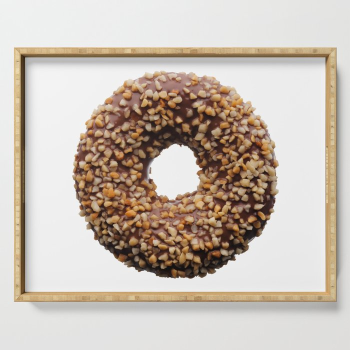 Chocolate and crushed nuts donut Serving Tray