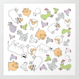 The Little Farm Animals Art Print