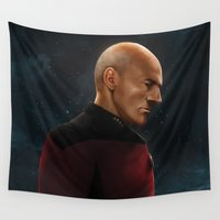picard Wall Tapestries featuring Picard by Raven Krupnow