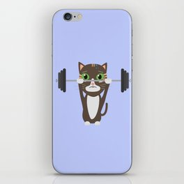 Fitness cat weight lifting   iPhone Skin