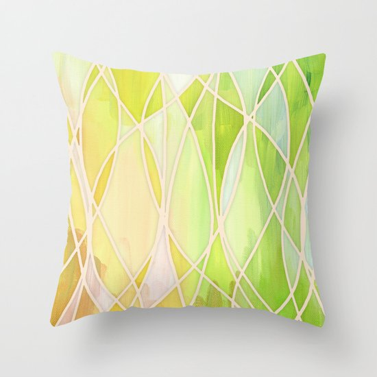 Yellow Green Decorative Pillows : Lemon & Lime Love - abstract painting in yellow & green Throw Pillow by Micklyn Society6