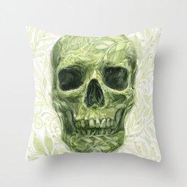 Leafy Skull Throw Pillow