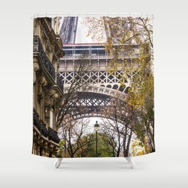 Eiffel Tower in Between Buildings Shower Curtain