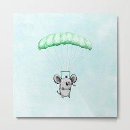 Cutie Parachuting Elephant Metal Print