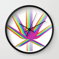 "cannabis Wall Clocks featuring Rainbow Cannabis by ""LSC"""