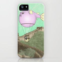 Panda flying on a blowfish iPhone Case