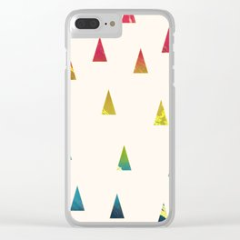 Geometrical pink yellow teal blue watercolor ombre triangles Clear iPhone Case