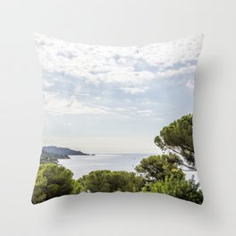 Seacoast near Le Lavandou and Bormes-les-Mimosas in French Riviera Throw Pillow