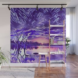 Cloudy Morning Sunrise on the Lake Wall Mural