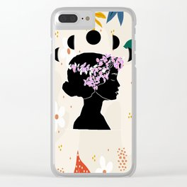 Beautiful Woman with Flower Woman First Feminist Motivation Clear iPhone Case