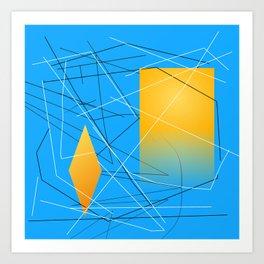 Blue Yellow Abstract Diamond Art Print