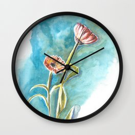 Blooms on Turquoise Wall Clock