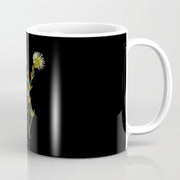 Mesembryanthemum Splendens Mary Delany Delicate Paper Flower Collage Black Background Floral Botanic Coffee Mug