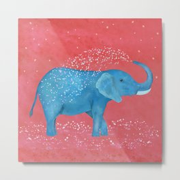 Happy Boho Elephant Metal Print