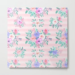 Beautiful watercolor garden floral paint Metal Print