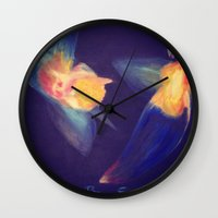 angels Wall Clocks featuring Angels by Art Pilar Martin