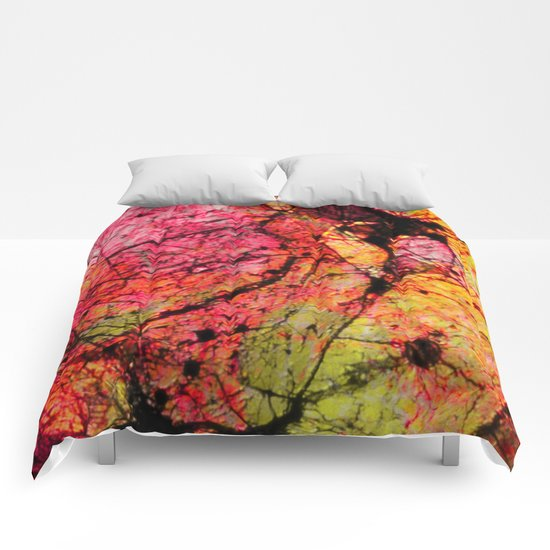 Conflict - textured abstract in pink, black and yellow Comforters