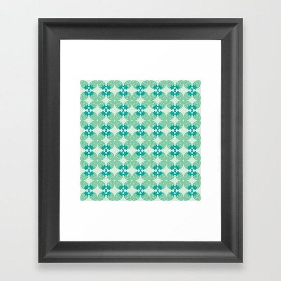 Pattern: Blue Strawberries Framed Art Print