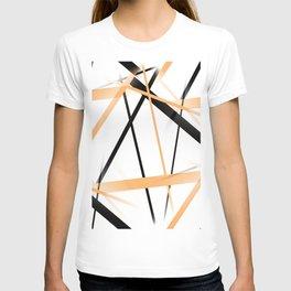 Criss Crossed Tangerine Orange and Black Stripes on White T-shirt