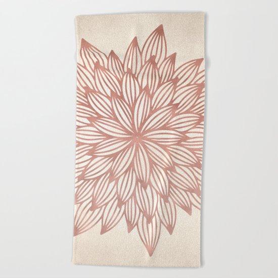 Mandala Flowery Rose Gold on Cream Beach Towel