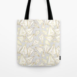 Paper Airplanes Faux Gold on Grey Tote Bag