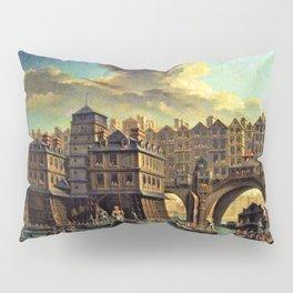 18th Century Paris, France along the River Seine by Jean Baptiste Nicolas Raguenet Pillow Sham