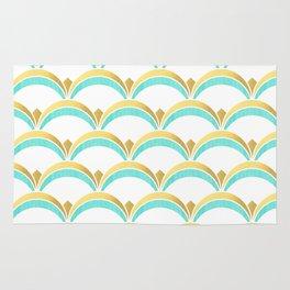 Mint and Gold Gatsby Twenties Deco Fan Pattern Rug
