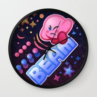 kirby Wall Clocks featuring Kirby Beam by likelikes