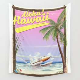 Aloha! Hawaii vintage travel poster. Wall Tapestry