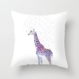 Hollow-Albino Giraffe in space Throw Pillow