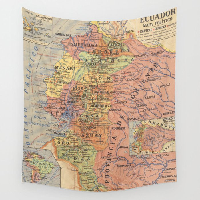 Vintage Map of Ecuador (1913) Wall Tapestry by bravuramedia | Society6