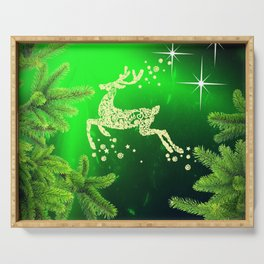 Christmas reindeer happy decoration Serving Tray