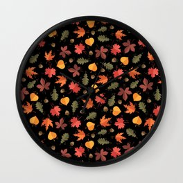 Autumn Leaves Pattern Black Background Wall Clock