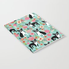 Floral Boston Terrier cute flowers spring bouquet love valentines day black and white mint dogs Notebook