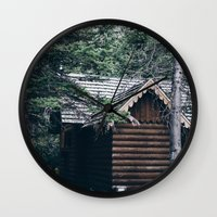 cabin Wall Clocks featuring Cabin by Garrett Lockhart