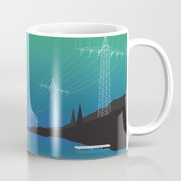 Electric Wire Lake Cyan Coffee Mug