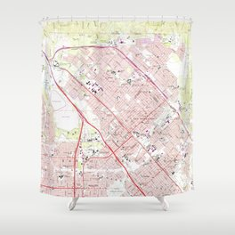 Vintage Map of San Fernando California (1966) Shower Curtain