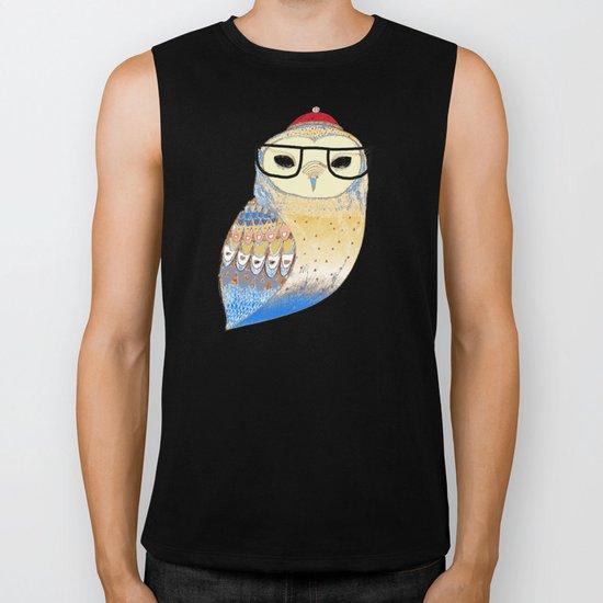 hipster owl Biker Tank