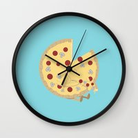 pizza Wall Clocks featuring Pizza! by Terry Irwin