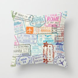 Vintage World Map with Passport Stamps Throw Pillow