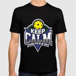 Pickleball Design: Keep Calm And Pickle On I Badminton Tennis T-shirt