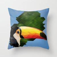 toucan Throw Pillows featuring toucan by gazonula