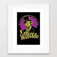 willy wonka Framed Art Prints featuring Willy W quote v2 by Buby87
