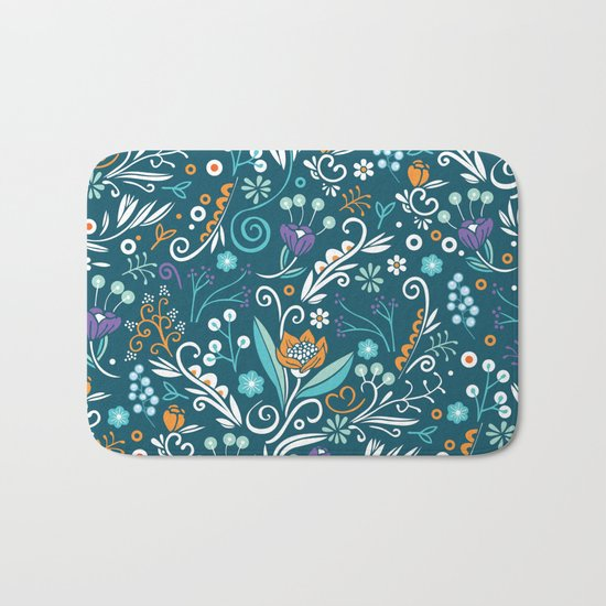 Flower circle pattern, blue Bath Mat