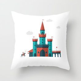 Little Knight and His Castle Throw Pillow