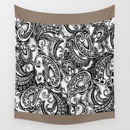 paisley batik black Wall Tapestry