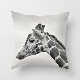 giraffe black white Throw Pillow