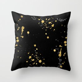 Golden Splats Throw Pillow