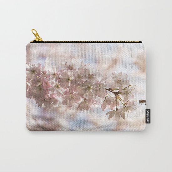 Bee and cherry branches against the blue sky Carry-All Pouch